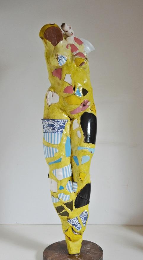 gelber-Engel-Keramik-Scherben-Hoehe-72-cm